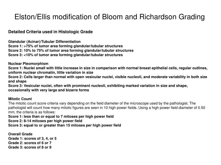 Elston/Ellis modification of Bloom and Richardson Grading
