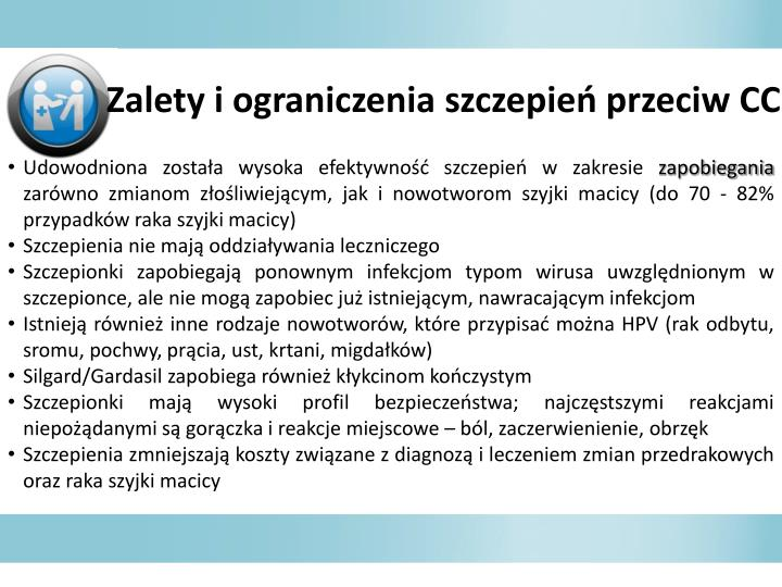 Zalety i ograniczenia szczepie przeciw CC