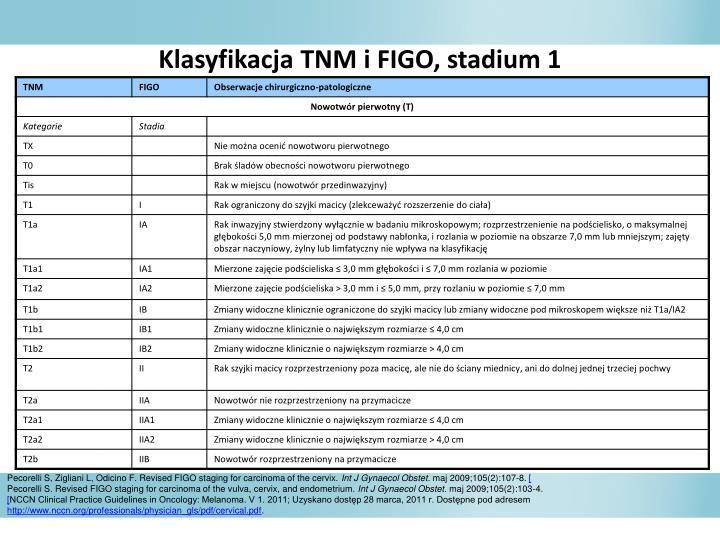 Klasyfikacja TNM i FIGO, stadium 1