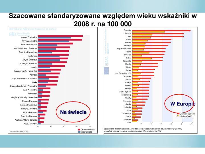 Szacowane standaryzowane wzgldem wieku wskaniki w 2008 r. na 100 000