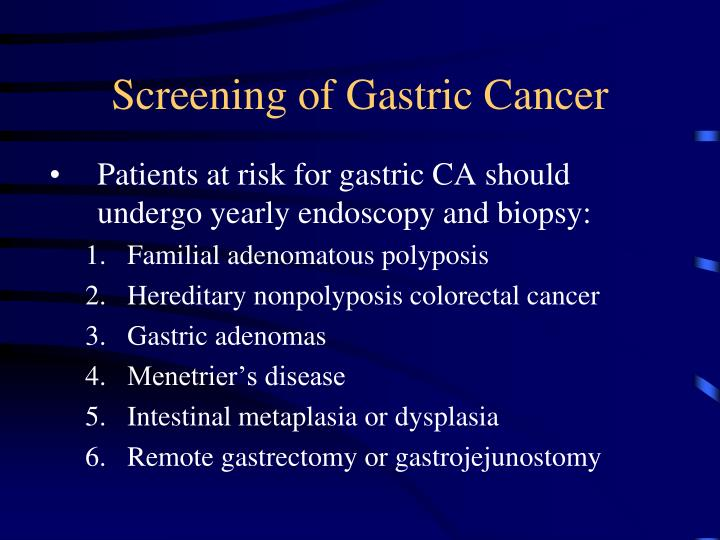 Screening of Gastric Cancer