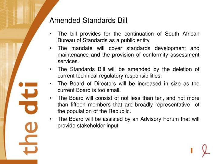 Amended Standards Bill