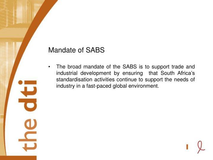 Mandate of SABS