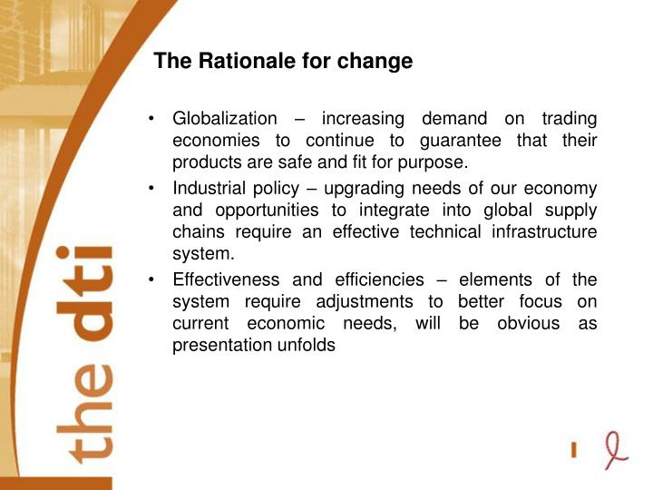 The Rationale for change