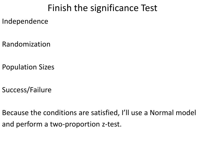 Finish the significance Test