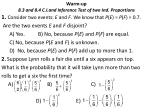 warm up 8 3 and 8 4 c i and inference test of two ind proportions