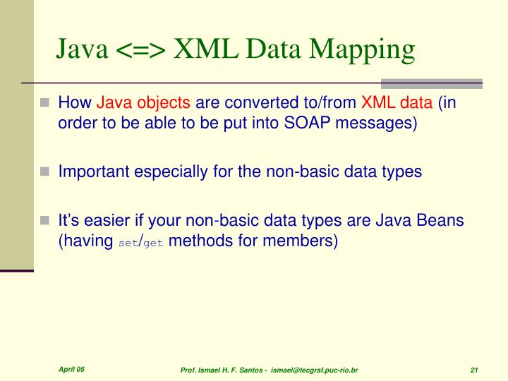Java <=> XML Data Mapping