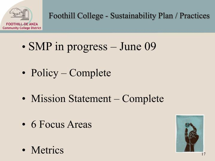 Foothill College - Sustainability Plan / Practices
