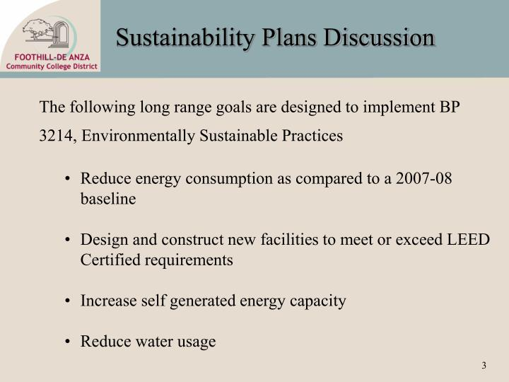 Sustainability Plans Discussion