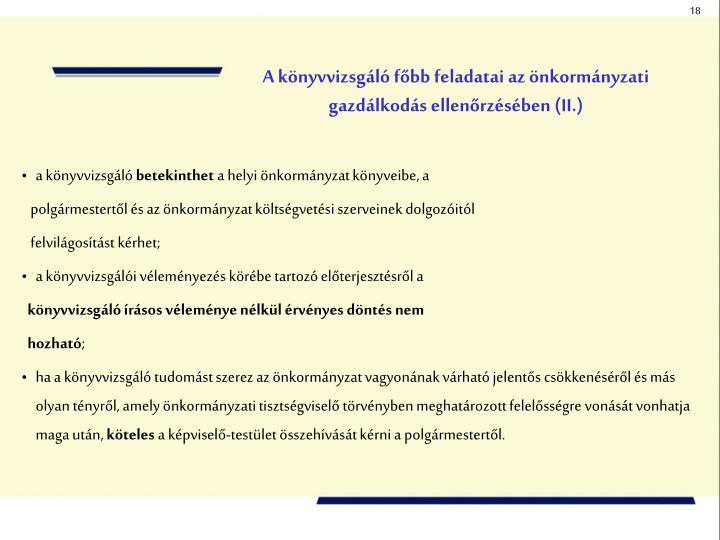A könyvvizsgáló főbb feladatai az önkormányzati gazdálkodás ellenőrzésében (II.)