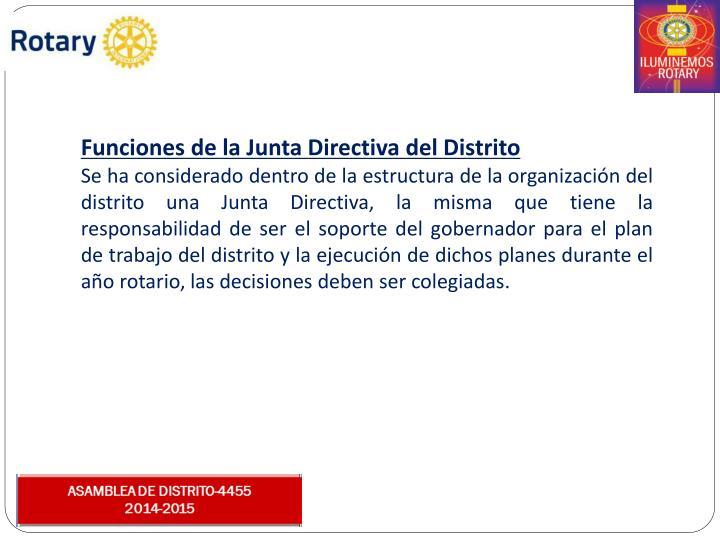 Funciones de la Junta Directiva del Distrito