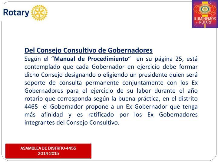 Del Consejo Consultivo de Gobernadores