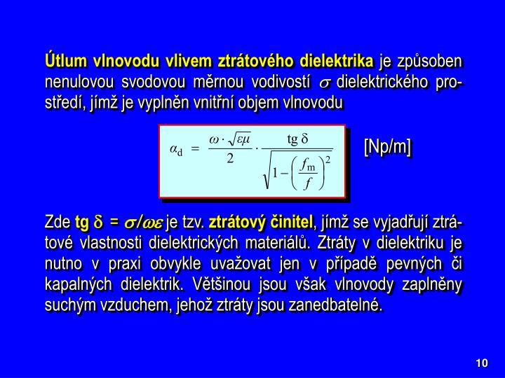 Útlum vlnovodu vlivem ztrátového dielektrika