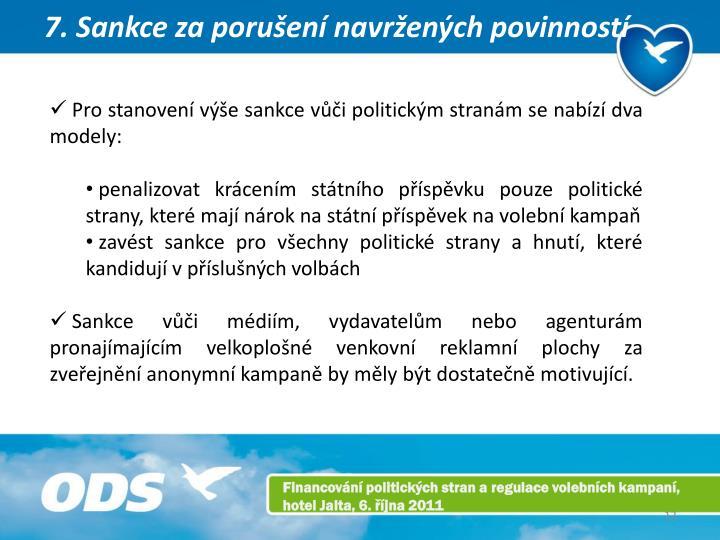 7. Sankce za porušení navržených povinností