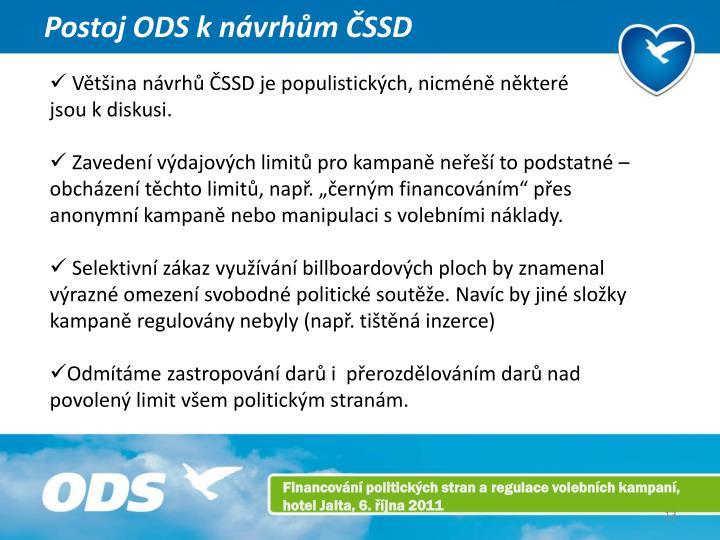 Postoj ODS k návrhům ČSSD