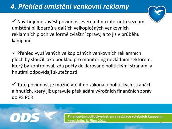 4. Přehled umístění venkovní reklamy zpráva o kampani na internetu