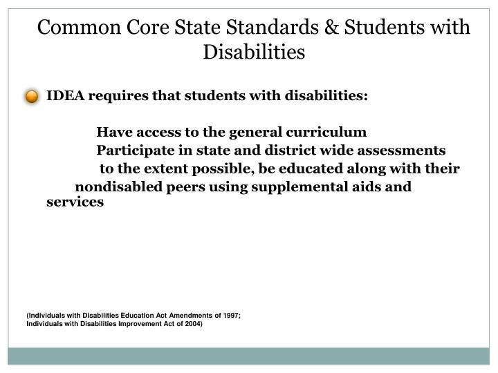 Common Core State Standards & Students with Disabilities