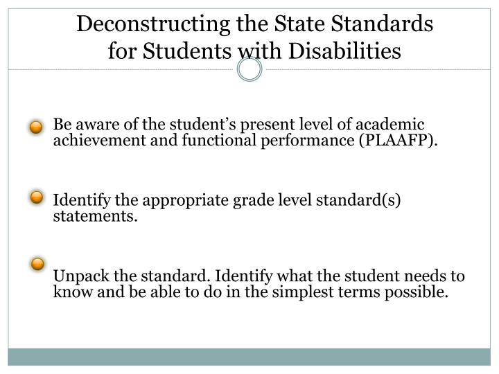 Deconstructing the State Standards for Students with Disabilities