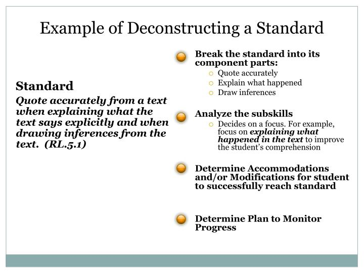 Example of Deconstructing a Standard