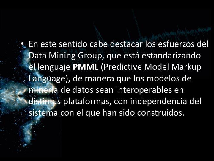 En este sentido cabe destacar los esfuerzos del Data Mining Group, que está estandarizando el lenguaje