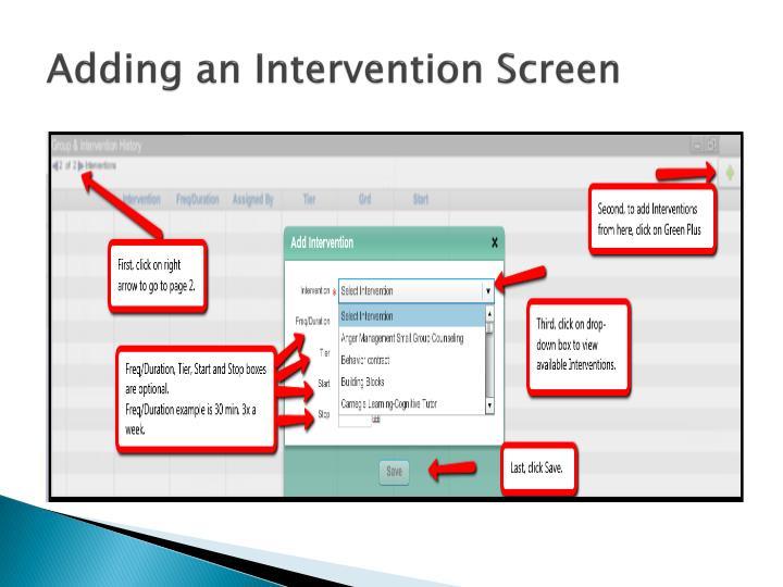 Adding an Intervention Screen