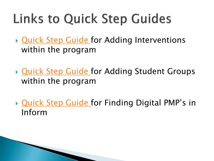 Links to Quick Step Guides