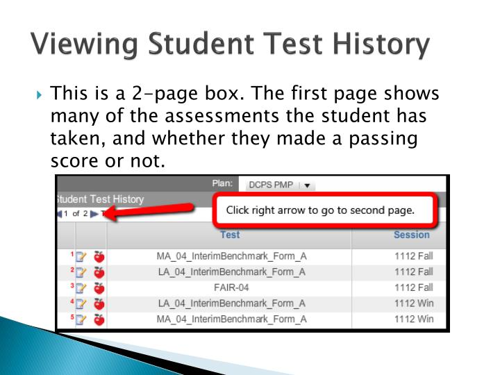 Viewing Student Test History