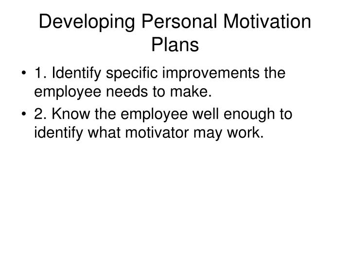 Developing Personal Motivation Plans
