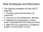 new employees and motivation