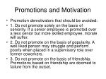 promotions and motivation