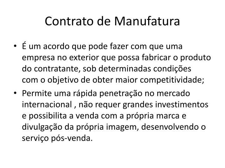 Contrato de Manufatura
