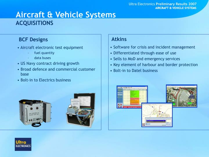 AIRCRAFT & VEHICLE SYSTEMS
