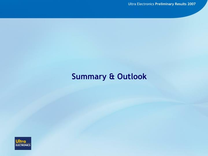 Summary & Outlook