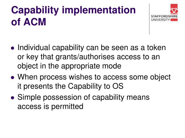 Capability implementation of ACM