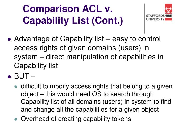 Comparison ACL v. Capability List (Cont.)
