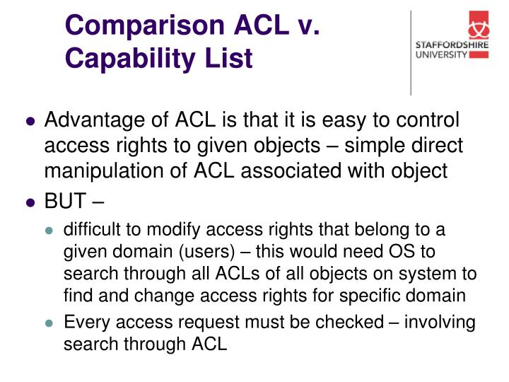 Comparison ACL v. Capability List