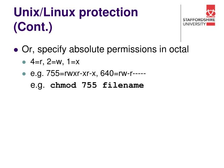 Unix/Linux protection (Cont.)