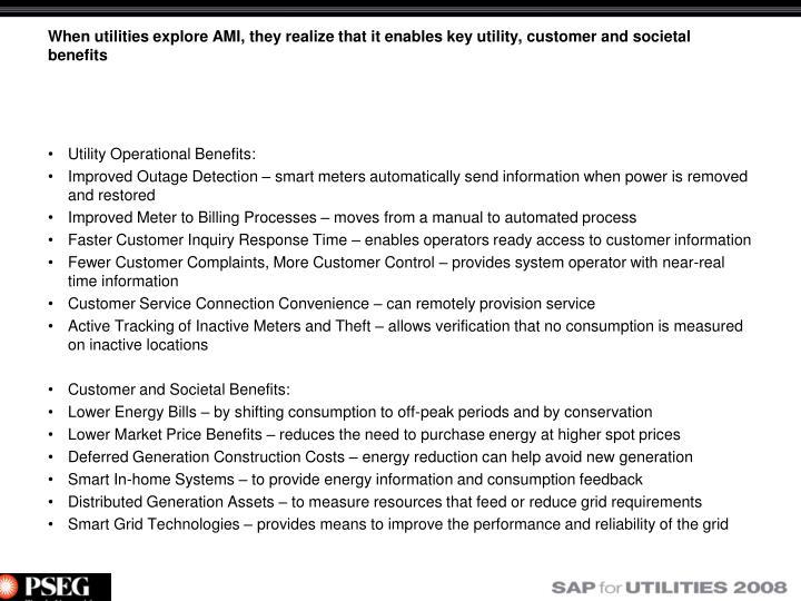Utility Operational Benefits:
