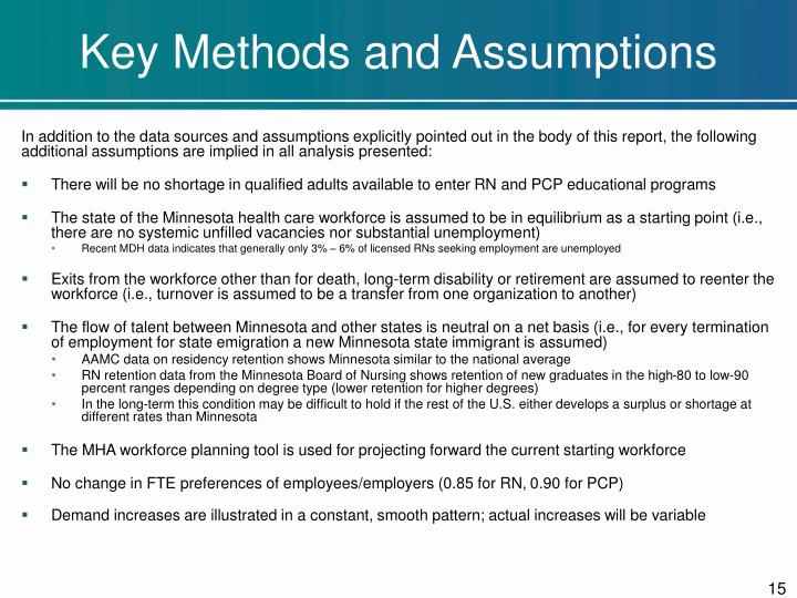 Key Methods and Assumptions