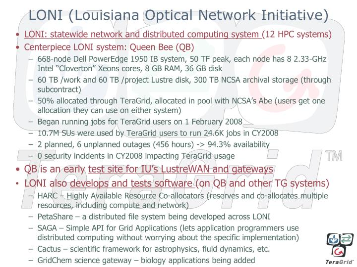 LONI (Louisiana Optical Network Initiative)