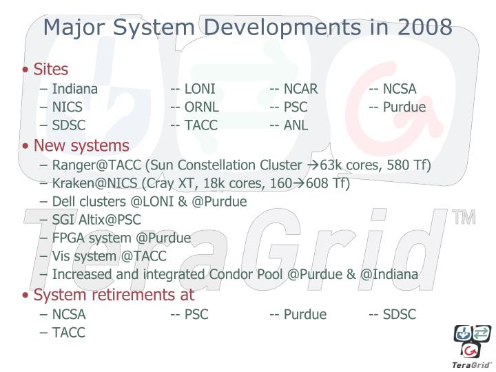 Major system developments in 2008