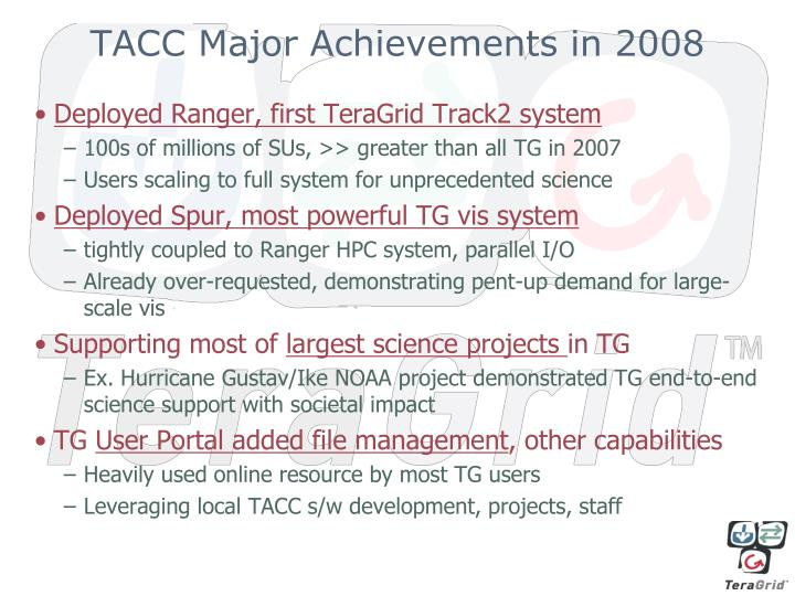 TACC Major Achievements in 2008