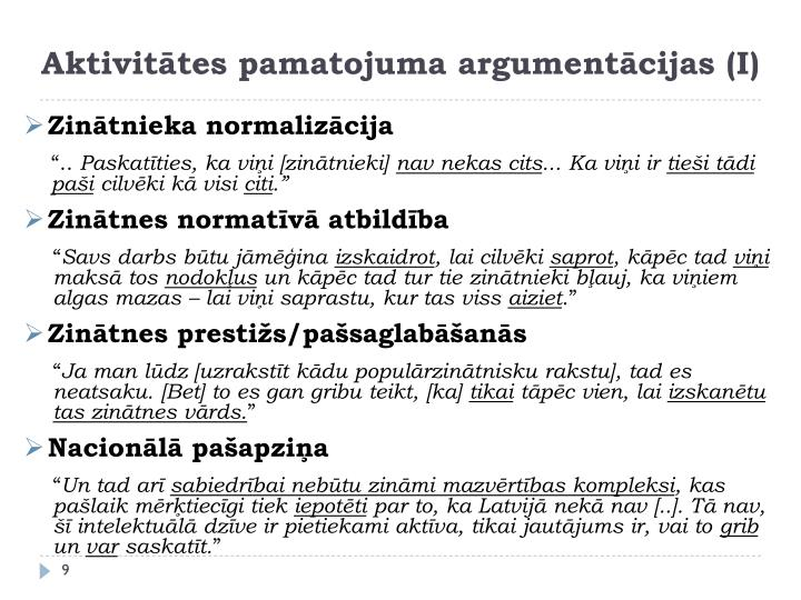 Aktivitātes pamatojuma argumentācijas (I)