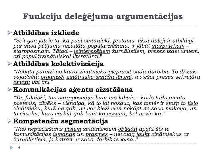 Funkciju deleģējuma argumentācijas