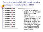 calculo de una matriz blosum ejemplo tomado y modificado de henikoff and henikoff 1992