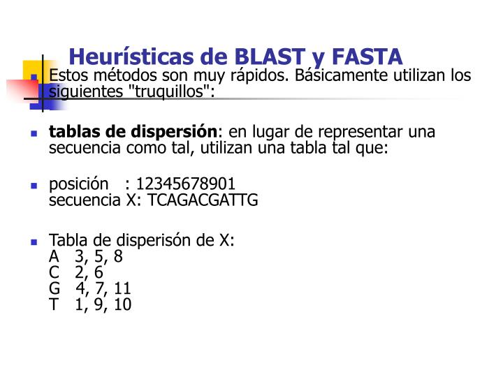 Heurísticas de BLAST y FASTA