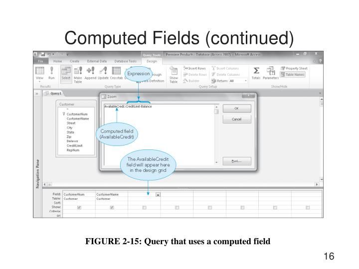 Computed Fields (continued)