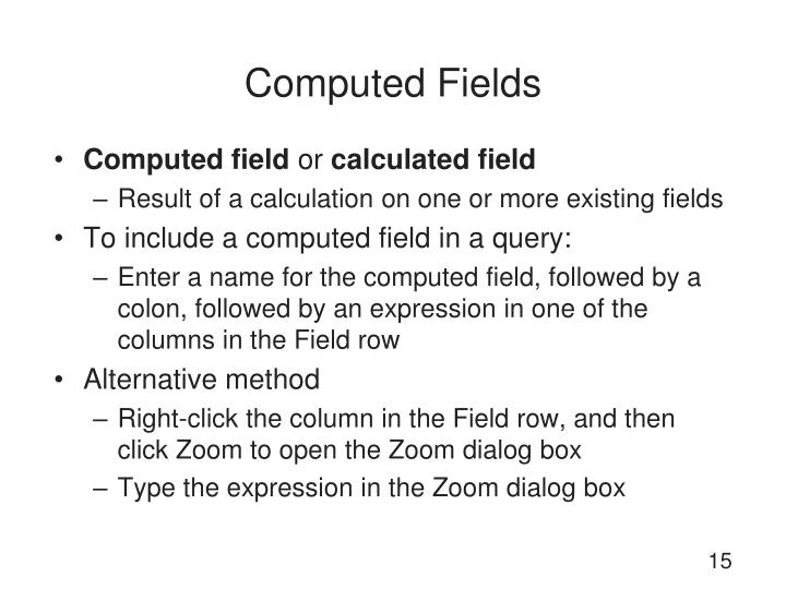 Computed Fields