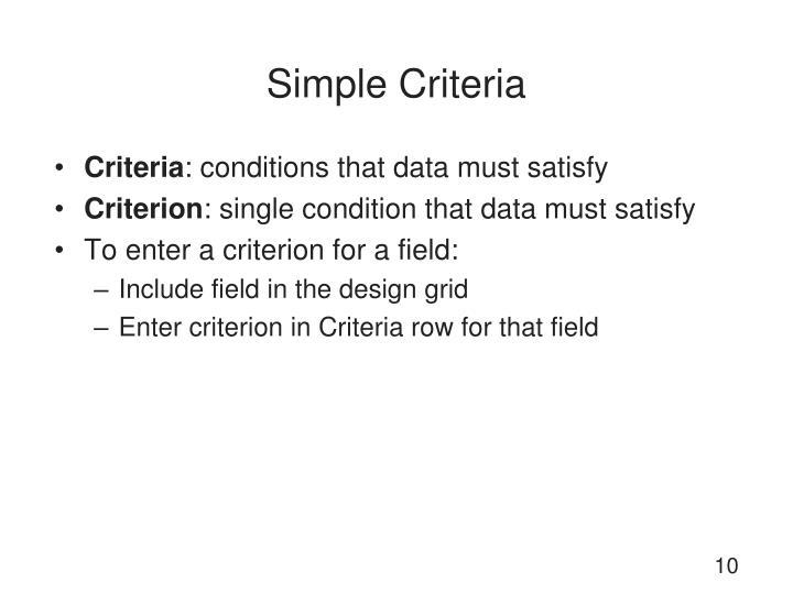 Simple Criteria