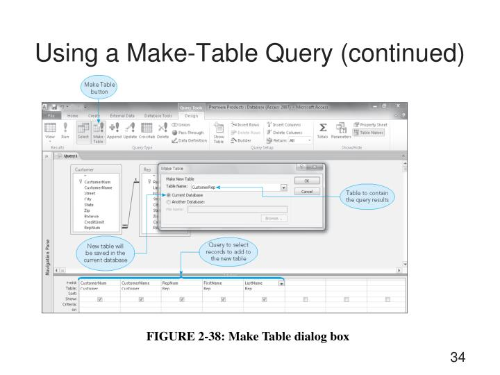 Using a Make-Table Query (continued)